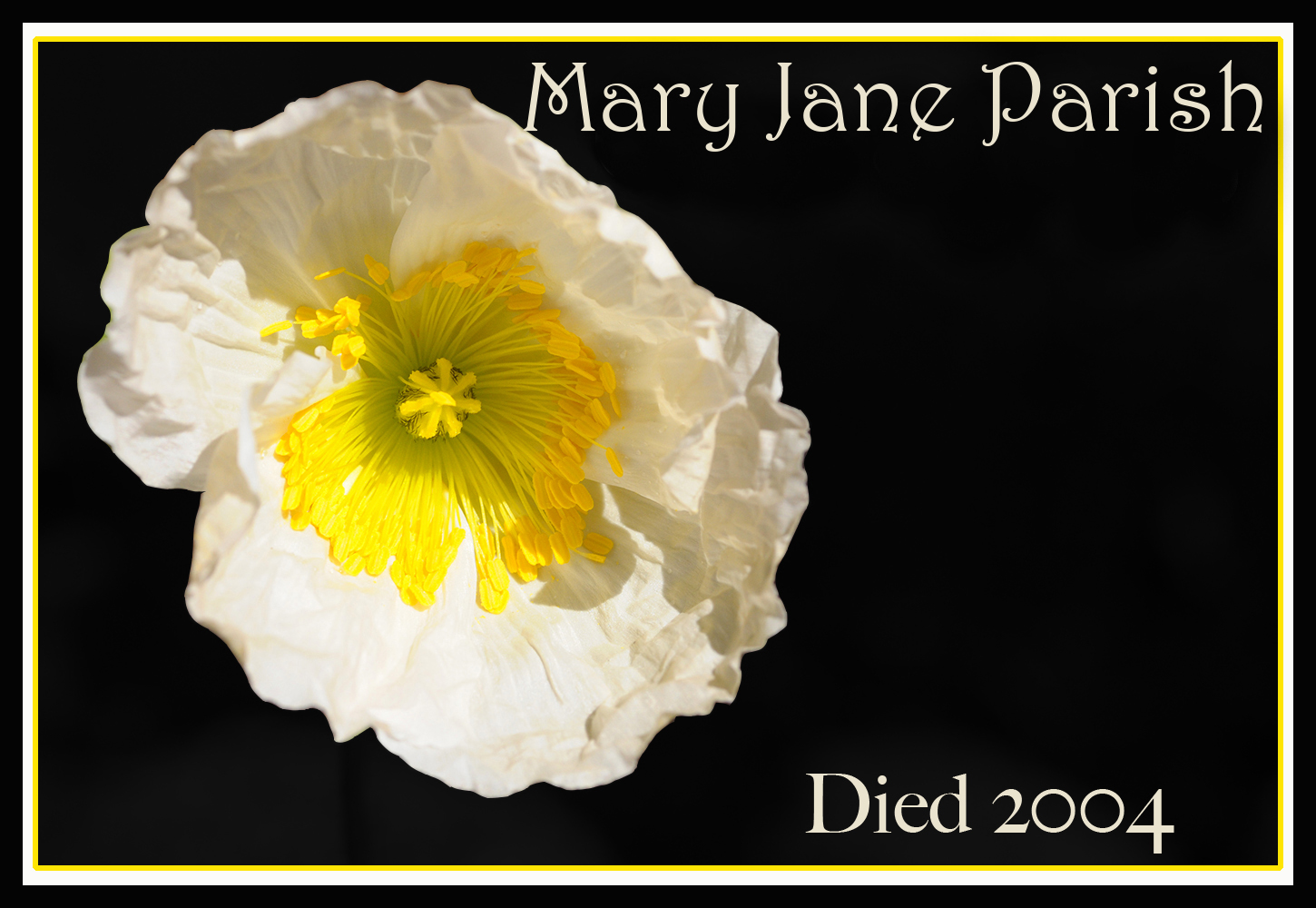 REMEMBERING POPPY Mary Jane Parish